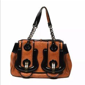 Fendi B Bag Buckle Nappa Tan Black Patent Purse